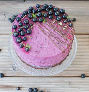 schwarze Johannisbeeren Torte mit Thymian und Ricotta