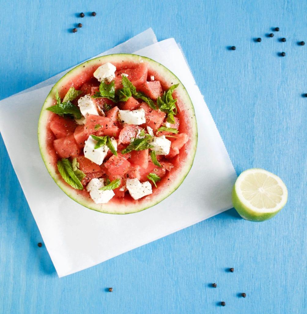 Melone Feta Salat mit Minze