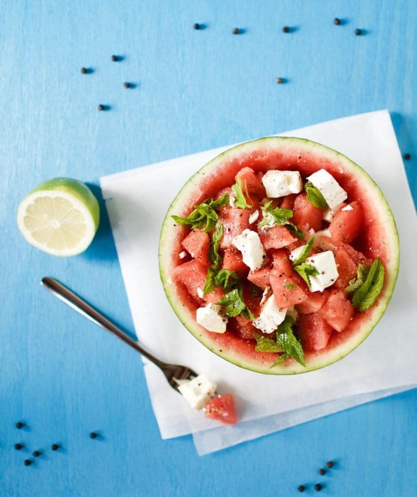 Wassermelone Feta Salat mit Minze