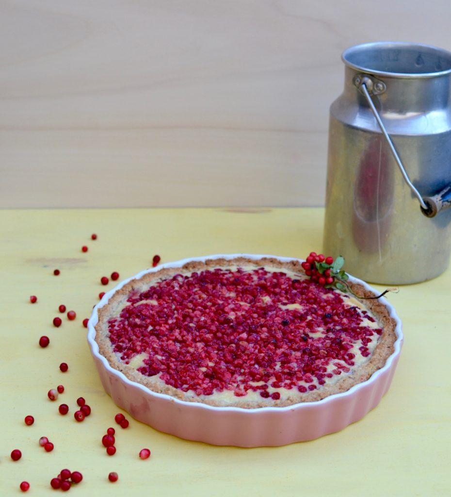 Preiselbeertarte mit Vanillepudding