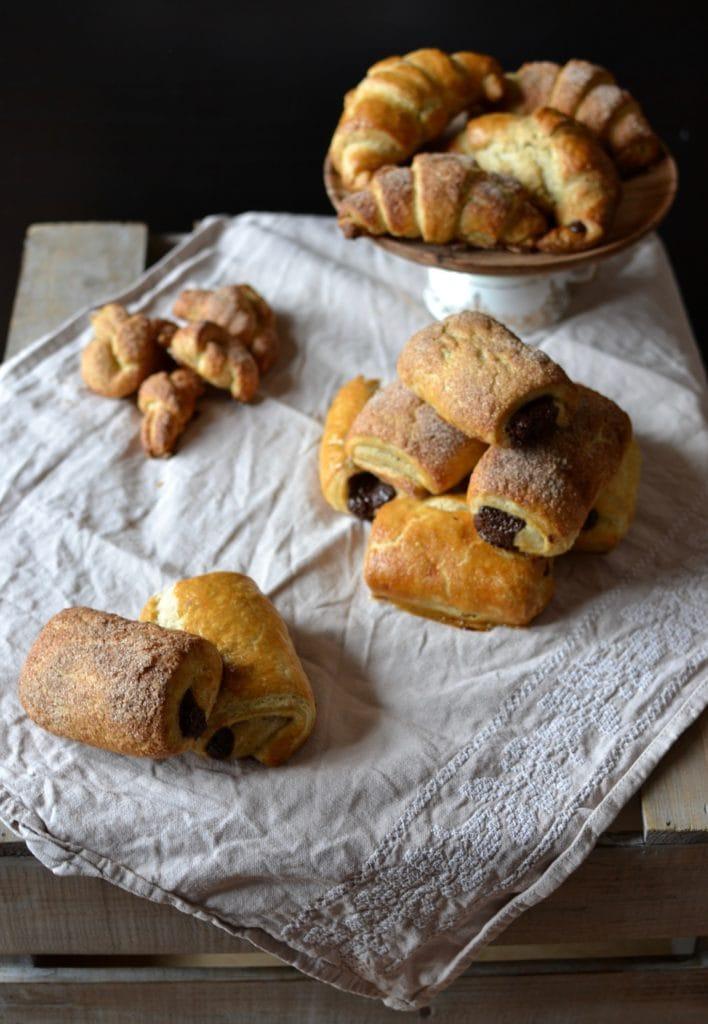 Croissants Pain au Chocolat selbstgemachter Blätterteig