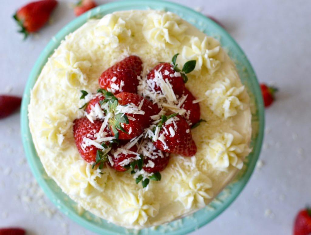 Erdbeer Minz Torte mit Limettenfrosting