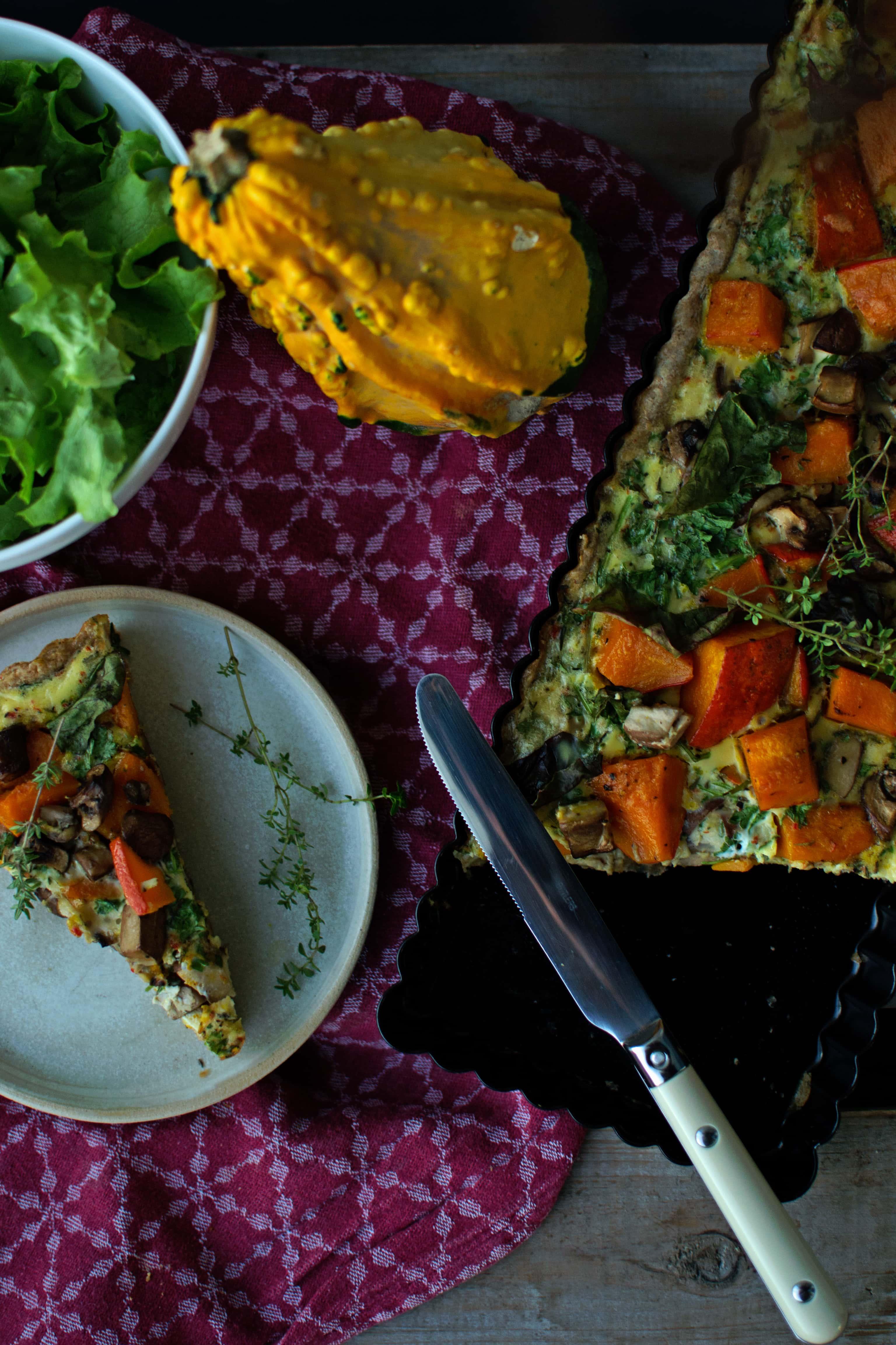 Herbstliebe: Kürbis Champignon Quiche