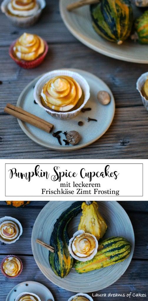 Pumpkin Spice Cupcakes mit leckerem Frischkäse Zimt Frosting