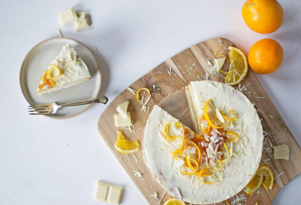 Orangentorte mit weißer Schokolade