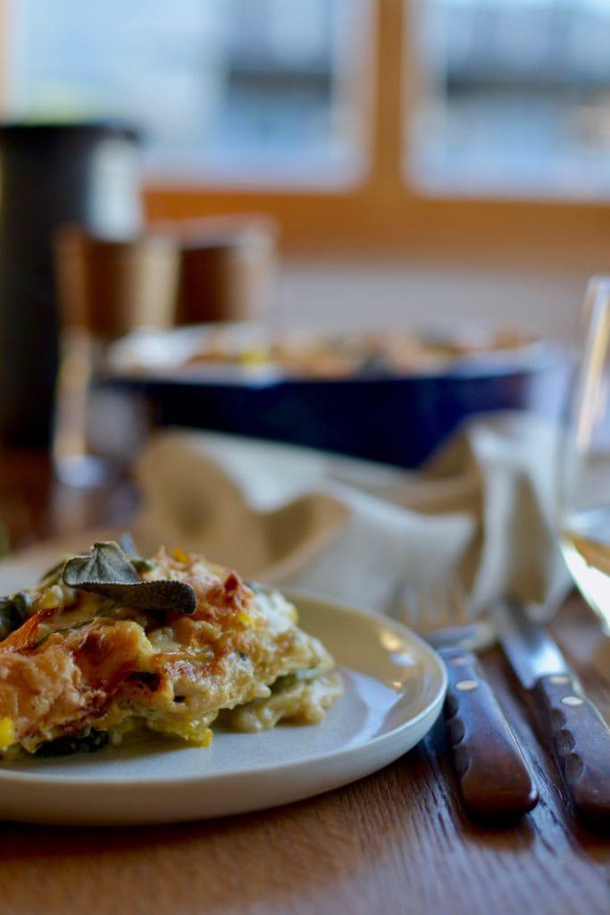 Kürbis Spinat Lasagne